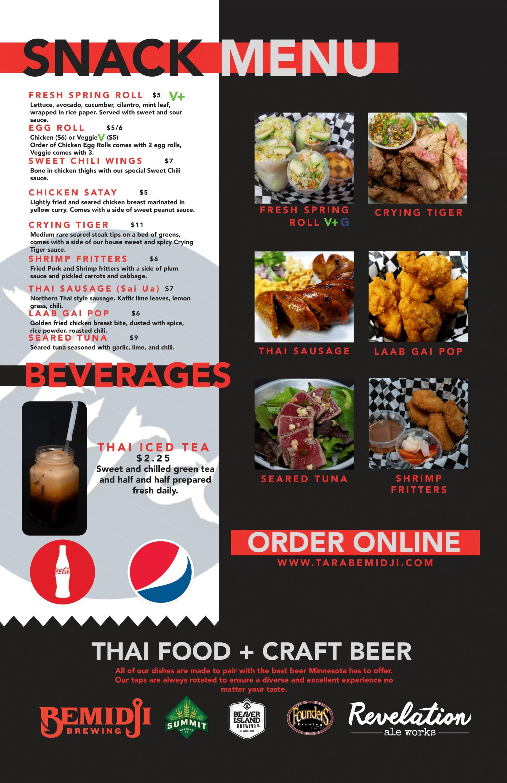 menu of tara bemidji thai food craft beer tara bemidji thai food craft beer